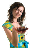 科涅克白兰地女人喝酒 — 图库照片