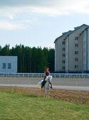 Girl astride a horse on a hippodrome — Stock Photo