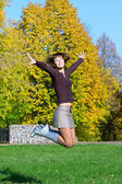 Nice jumping girl — Foto Stock