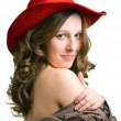 Girl in a red hat — Stock Photo