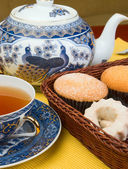 Chá e bolo — Fotografia Stock