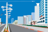 Skyline of blue city — Stock Photo