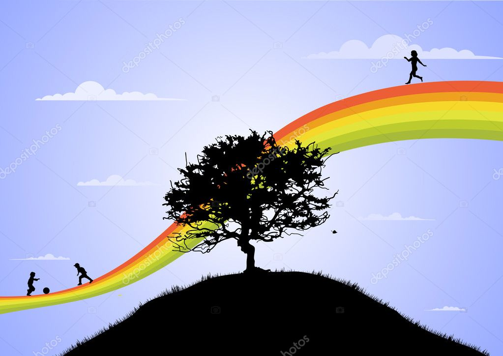 Happy children playing on the rainbow  Stock Photo #1067927