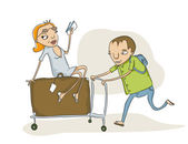 Overloaded baggage cart — Stock Photo
