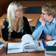 Two student in classroom — Foto Stock