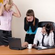 Stock Photo: Three charming females at office