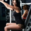 Royalty-Free Stock Photo: Young charming brunette in a gym