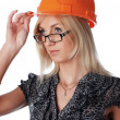 The charming girl the builder — Stock Photo #2361490