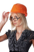 The charming girl the builder — Stock Photo