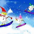 Stock Photo: Snowmen on Boards