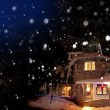 Cottage in the snow — Stock Photo