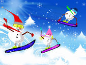 Snowmen on Boards — Stock Photo
