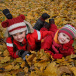 Two happy girls lying on autumn leaves - Stock Photo