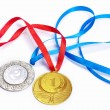 Stock Photo: Gold and silver sport medals