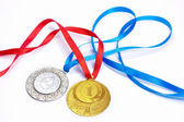 Gold and silver sport medals — Stock Photo