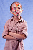 Smudged little painter — Stock Photo