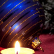 Royalty-Free Stock Photo: Christmas. Сandle and blue ball.