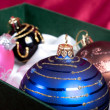 Christmas tree balls in box — 图库照片