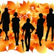 Royalty-Free Stock Vektorfiler: Women silhouettes and yellow leaves.