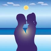 Love on the beach. — Stock Vector