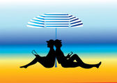 Silhouettes of two spending their vacations at the beach. — Stock Vector