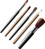 Cosmetic brushes and pencils. — Stock Vector