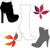 Autumn shoes and leaves. — Stock Vector