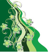 Green ribbons and flowers. — Stock Vector