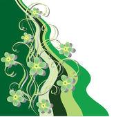 Flores y cintas verdes. — Vector de stock