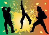 Siluetas de hombres bailando. — Vector de stock