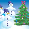 Christmas tree and snowman. — Stock vektor