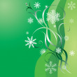 Snowflakes and green ribbons. — Stock Vector #1297937