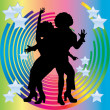 Stock Vector: Silhouette of couples dancing disco.