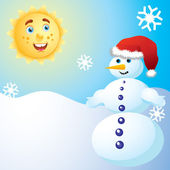 Snowman and the sun. — Stock Vector