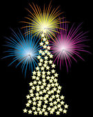 árbol de navidad y los fuegos artificiales. — Vector de stock