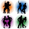 Royalty-Free Stock ベクターイメージ: Silhouettes of dancing couples.