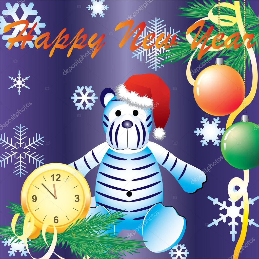 Vector Christmas background with a clock and a white tiger.  Stock Vector #1402457