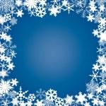 冬、雪片のフレーム — ストックベクタ