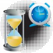 Alarm clock and an hourglass. — Stock Vector