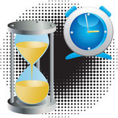 Alarm clock and an hourglass. — Stockvector
