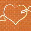 Heart with on a brick wall. — Stock Vector