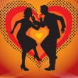 Stock Vector: Silhouette of couples dancing