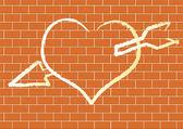 Srdce se na cihlovou zeď. — Stock vektor
