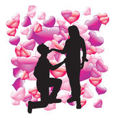 The silhouette of lovers — Stock Vector