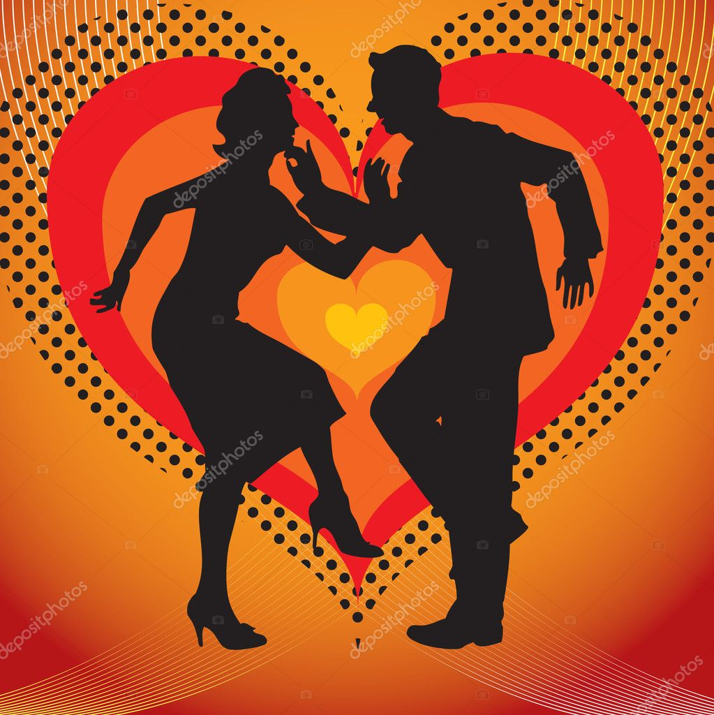 Silhouette of couples dancing against a background of the heart.  Stock Vector #1644357