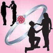 Sagome di amanti e un anello — Vettoriale Stock