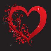 Abstracte rood hart met versieringen — Stockvector