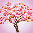 Abstract tree with heart — Vector de stock