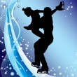 Silhouette of figure skaters. — Stock Vector