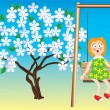 Girl on a swing and a flowering tree. — Stock Vector #2557524
